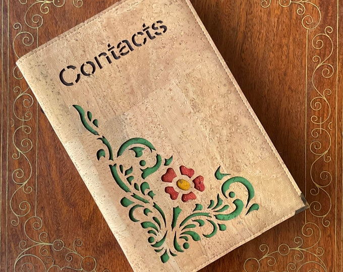 Beige cork fabric  mid size, vegan contacts/address book - laser cut design of green tendrils and a red flower