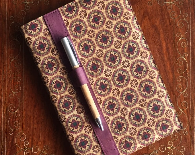 A5 vegan cork fabric notebook with cork pen - printed design of red and purple squares  - cork leather - cork ball point pen