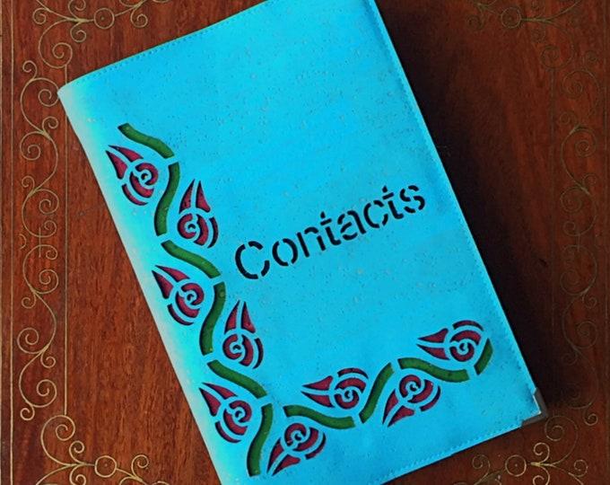 Sky blue vegan cork fabric - cork leather - midi address/contacts book - laser cut design backed in coloured cork