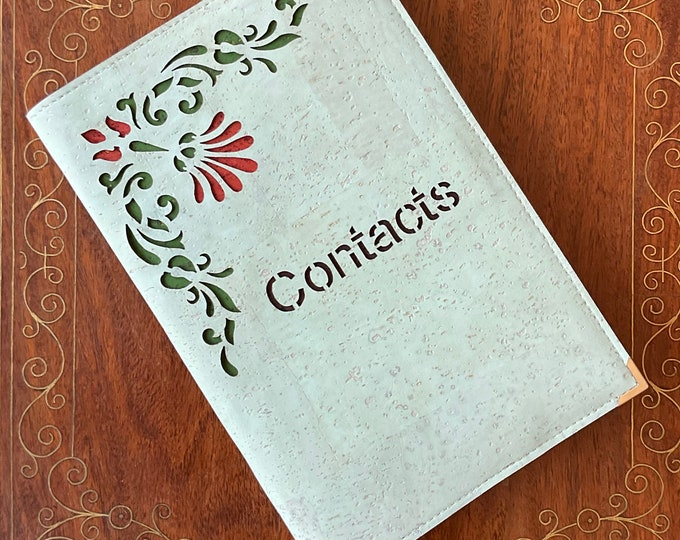 Aqua mid sized cork fabric address book -  contacts book design of stylised flower and tendrils