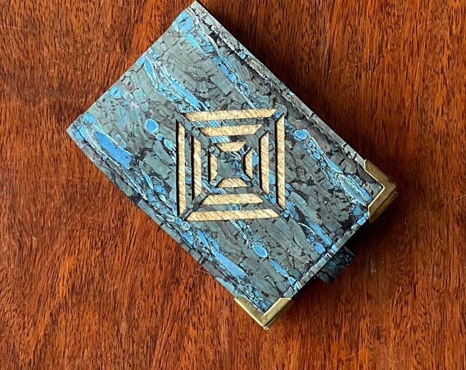 Vegan blue cork and fennel fabric mini-wallet with 4 card slots (doubled up takes 8 or 10 cards) diamond decoration backed in beige cork