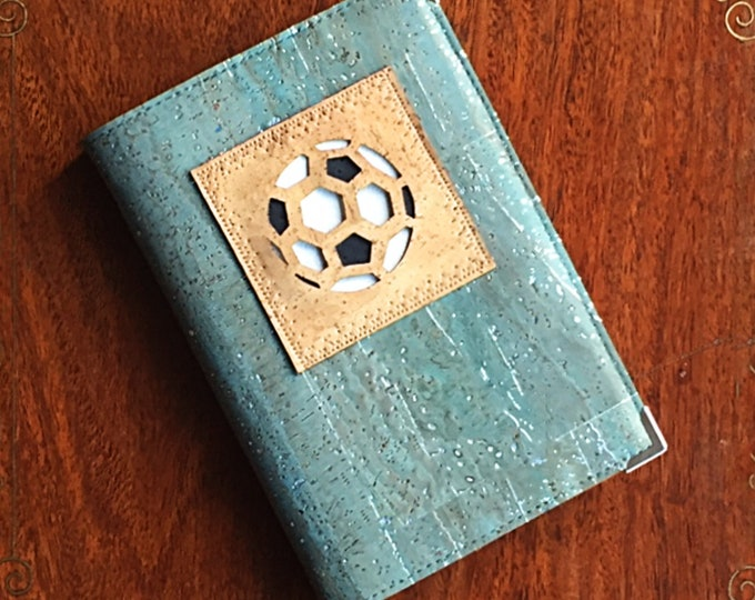 Silver flecked blue cork fabric - cork leather - vegan A6 notebook - laser cut appliqué of a football - gift for a sportsman or woman