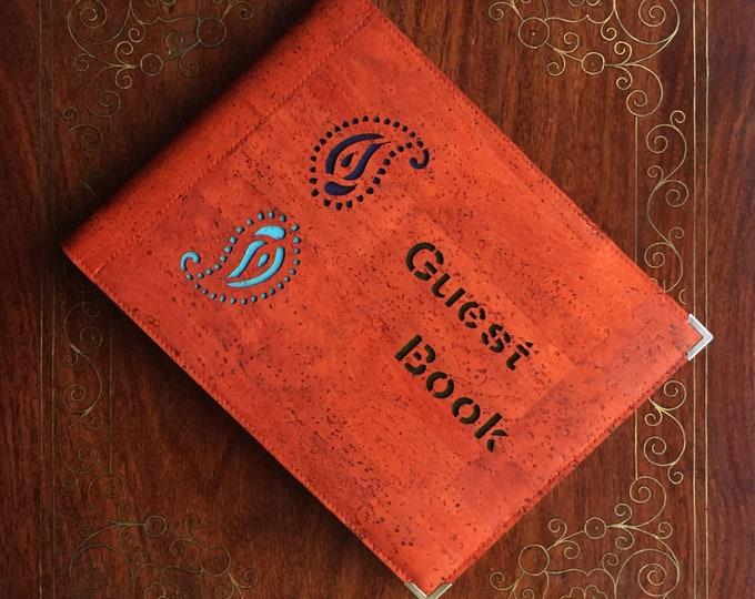 Visitors book- guest book - vegan burnt orange cork fabric/cork leather- A 5 landscape  book - laser cut  paisley design