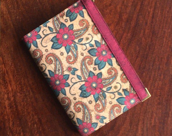 Vegan printed cork fabric - cork leather -A6 notebook - print of red flowers and paisley-style leaves - red band decorations
