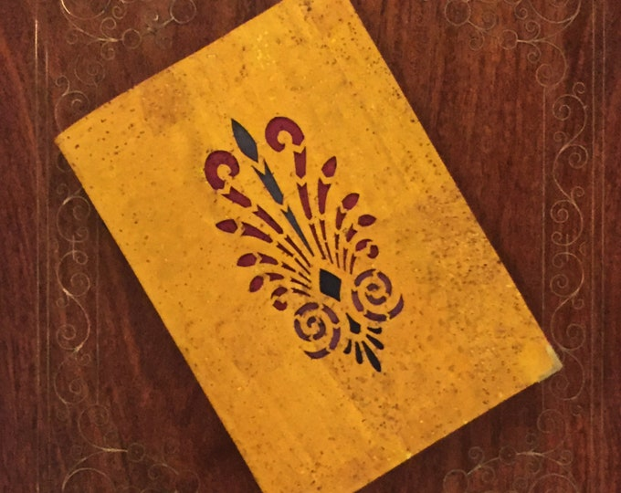 mustard yellow vegan cork leather/cork fabric notebook with laser cut organic, double fern design backed in coloured cork
