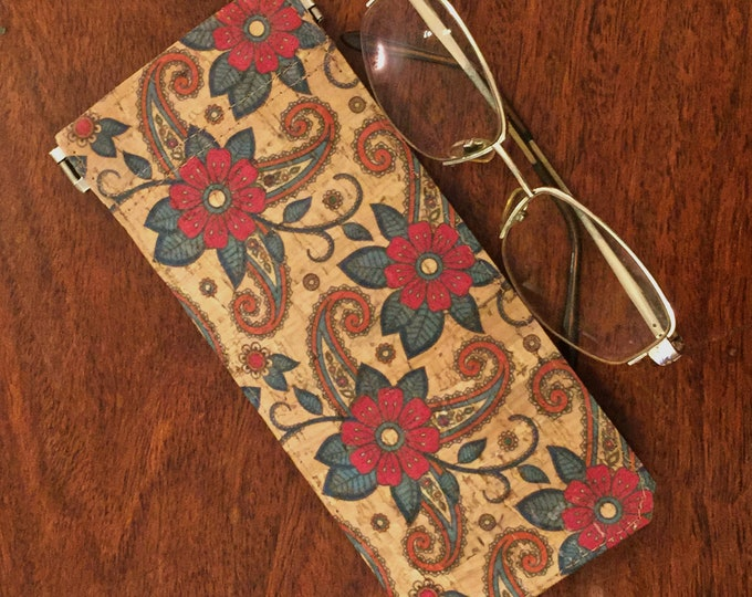 Glasses case - beige cork fabric with paisley design and red flowers - spectacles case  - flexible spring closure