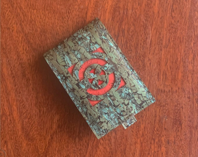 Vegan green cork and fennel fabric/leather mini-wallet with with 4 card slots (can be doubled up to 8) - brick red geometric design