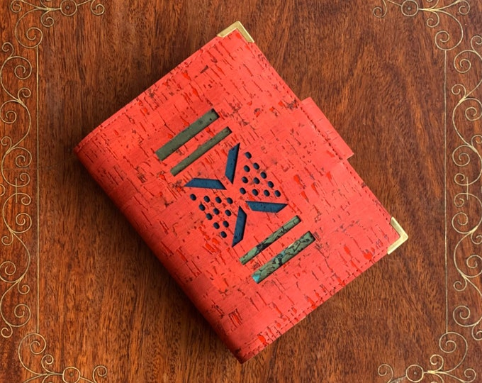 Brick red,  vegan, cork fabric travel wallet for passport, travel cards, tickets, boarding passes and cash - laser cut geometric design