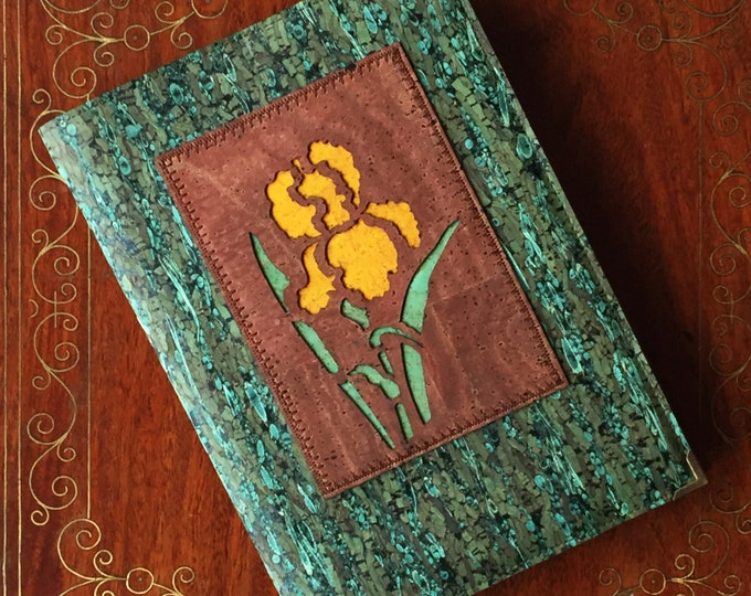 Notebook- journal - diary - Vegan green cork and fennel leather - cork fabric - A5 notebook  - mid brown appliqué of a yellow iris