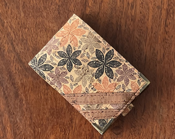 Vegan beige autumn flower printed  cork fabric/cork leather mini-wallet with with 4 card slots (can be doubled up and take 8 cards )