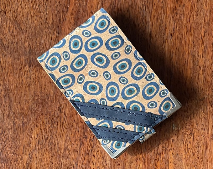 Vegan mini card wallet - beige cork fabric with printed blue irregular circles - 4 card slots can double up to 8 or 10