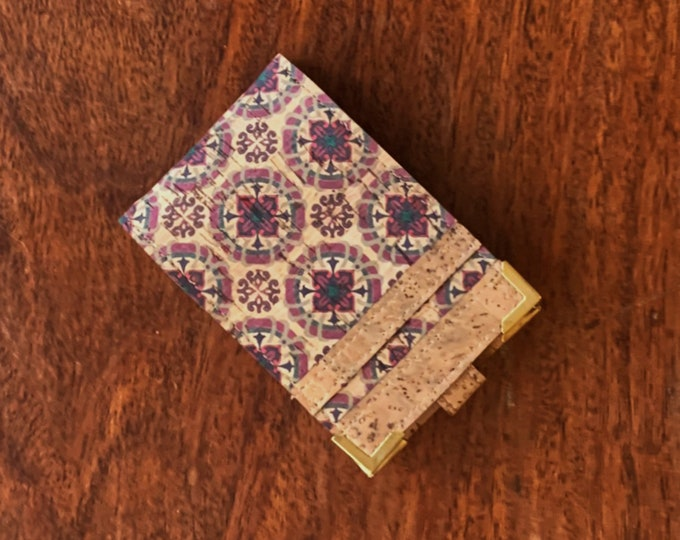 Vegan beige purple and red tile printed cork fabric/cork leather mini-wallet with with 4 card slots (can be doubled up and take 8 cards )