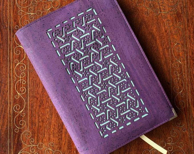 A5 notebook - purple vegan cork fabric - cork leather - laser cut geometric design backed in light blue cork - cork journal - cork diary