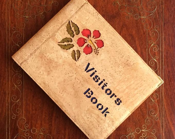 Vegan A5 landscape beige cork fabric/ cork leather visitors book/ guest book - laser cut hibiscus flower backed in coloured cork