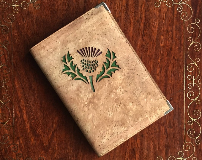 Vegan fawn cork fabric - cork leather - A6 notebook embellished with a laser cut Scottish thistle backed with coloured cork