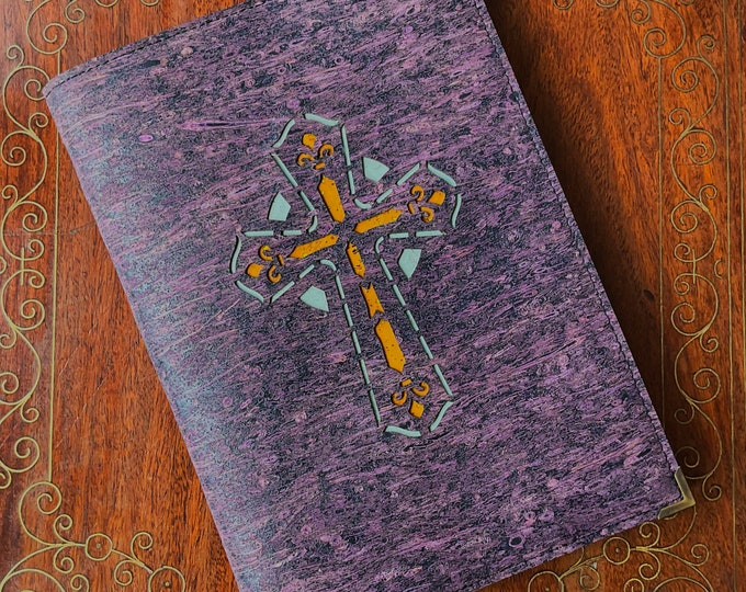 Vegan purple cork straw fabric A5 notebook with a laser cut cross backed with coloured cork