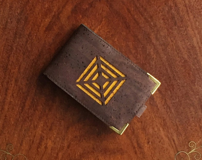 Vegan chocolate brown cork fabric/cork leather mini-wallet - laser cut square design - 4 card slots (can be doubled up to take 8 -10 cards)