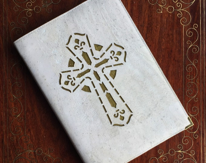 Vegan white cork fabric A5 notebook - cross backed with gold painted cork  - ordination / confirmation / first communion / wedding gift