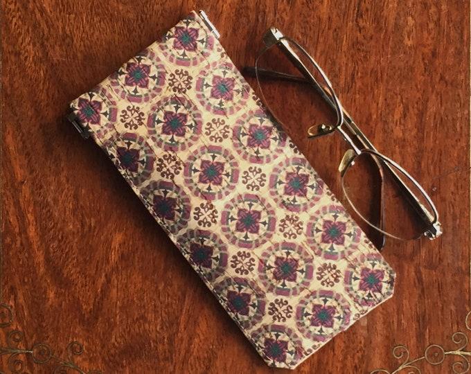 Vegan dark red tile printed beige cork fabric/cork leather - spectacles/ glasses case - flexible spring closure