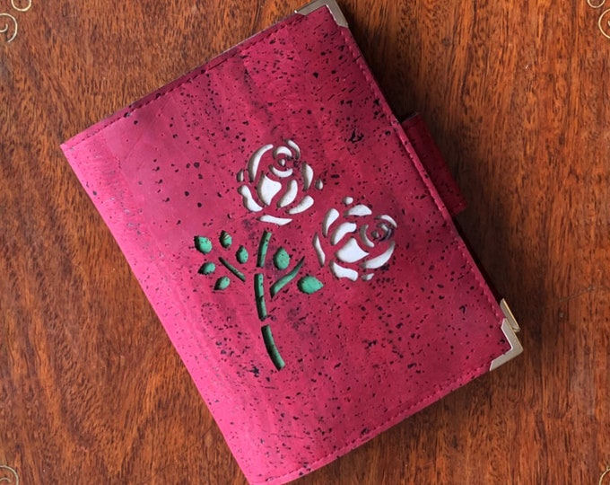Wine red, vegan, cork fabric travel wallet for passport, travel cards, train tickets, boarding passes, cash - with two laser cut white roses