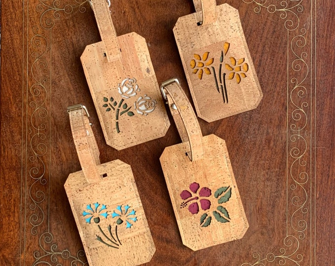 Luggage tags/ luggage labels -  eco vegan cork fabric - flower designs - daffodils, roses, hibiscus, cornflowers - Yorkshire rose white rose