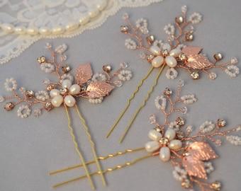 Bridal Rhinestone Hair Pins, Pearl Wedding Headpiece, Rose Gold Crystal Hair Piece, Silver Hair Pins, Rose Gold Headpiece, Freshwater Pearls