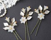 Bridal hair pins, Weding hair pins, Pearl hair pins, Bridal headpiece, Wedding hair piece, Leaf headpiece