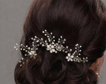 Wedding Hair Pins, Bridal hair Pins, Rose Gold Hair Pins, Rhinestone Hair Pins, Gold Headpiece, Pearl Hair Pins, Rose Gold Headpiece