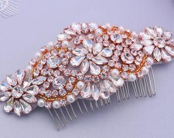 Rhinestone Hair Comb, Bridal Hair Piece, Wedding Head Piece, Rose Gold Hair Comb, Blush Headpiece, Pearl Hair Comb, Bridal Hair Comb