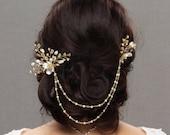 Bridal hair chain,  Wedding Hair Piece, Rhinestone hair pins, Pearl hair comb, Bridal headpiece, Pearl hair pins, Wedding head piece