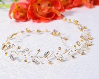 Wedding Hair Vine, Gold Hair Vine, Wedding Headpiece, Bridal halo, Rhinestone hair Vine, Rose Gold Hair Vine, Crystal Tiara, Bridal Wreath