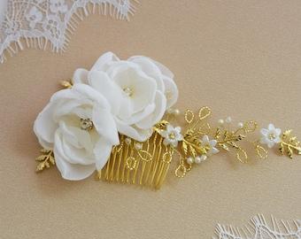 Bridal hair Comb, Rose Gold Hair Comb, Crystal Hair comb, Pearl Hair Vine , Wedding Haircomb, Silver Haircomb, Pearl Hair Comb, Pearl Wreath