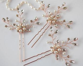 Rhinestone Hair Pins, Bridal Hair Piece, Wedding Head Piece, Pearl Headpiece, Crystal Hair Pins, Bridal Hair Jewelry, Rose Gold Hair Pins