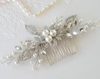 Rhinestone Hair Comb, Bridal Hair Piece, Wedding Headpiece, Pearl Hair Jewelry, Bridal Hair Comb, Pearl Headpiece, Gold Hair Jewelry