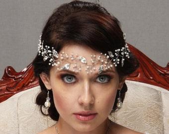 Pearl Hair Vine, Bridal Leaf Tiara, Wedding Circlet, Rose Gold Headpiece, SIlver Hair Band, Gold Headband, Bridal Pearl Crystal Hair Piece