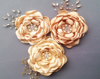 Bridal Hair Flower, FLower Headpiece, Wedding Hair Clip, Flower Hair Clip, Champagne Fascinator, Bridesmaids Flower , Bridal Flower Piece