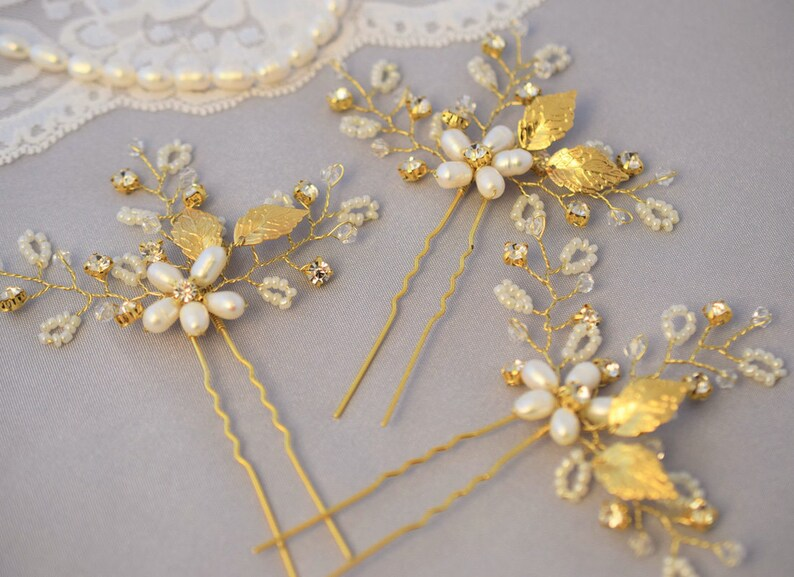Flower hair pin Crystal hair jewelry Wedding floral hairpiece Rose gold bridal hair pins pearl wedding headpiece rhinestone hair piece