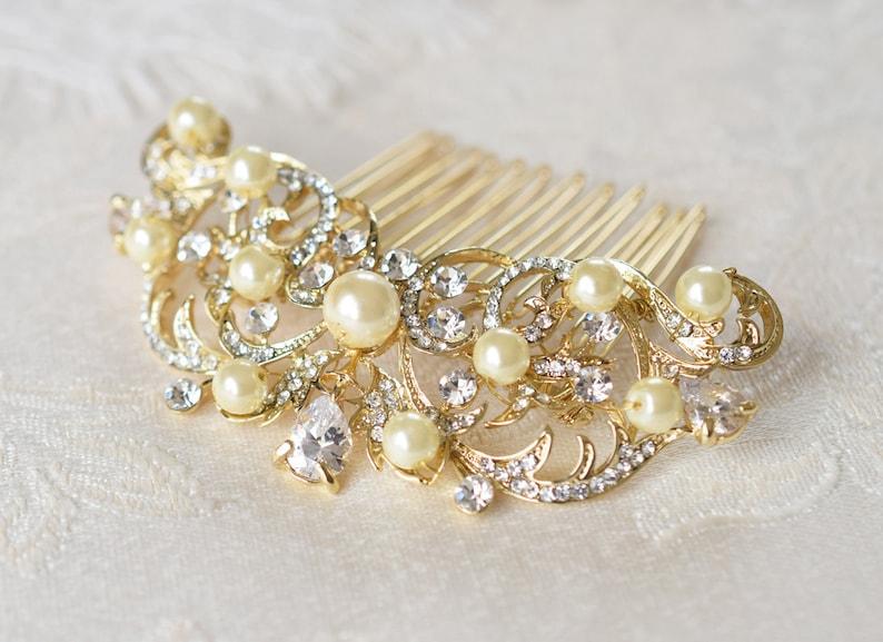 Pearl and rhinestone bridal hair comb Wedding gold headpiece Silver bridal hairpiece