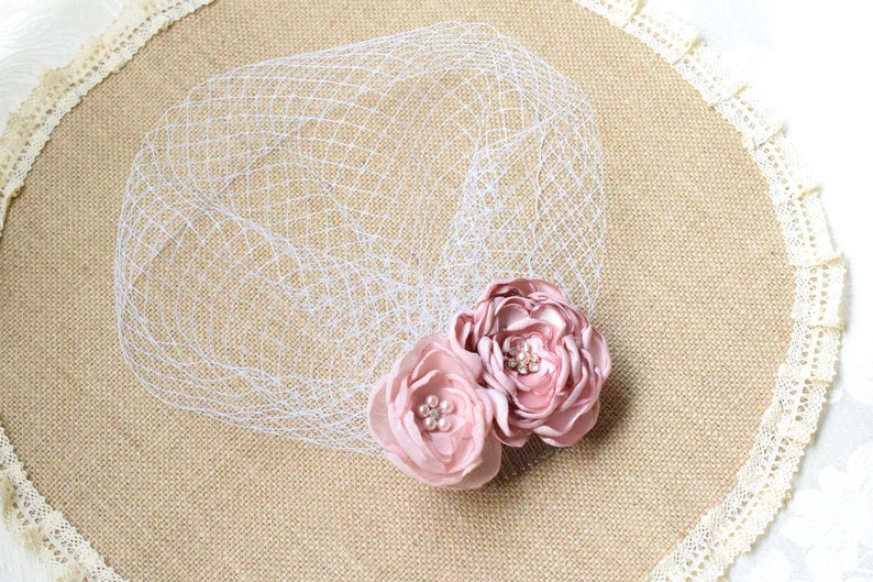 Birdcage Veil with rhinestones Wedding Hair Piece Blusher Veil Ivory Veil Bridal Veil Wedding Headpiece Wedding Veil