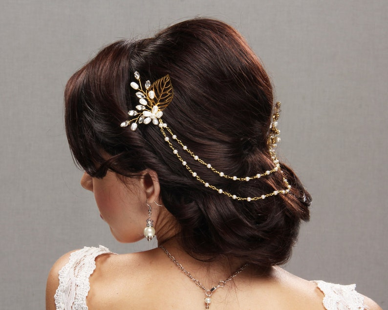 Bridal Hair Chain with freshwater pearls and rhinestones