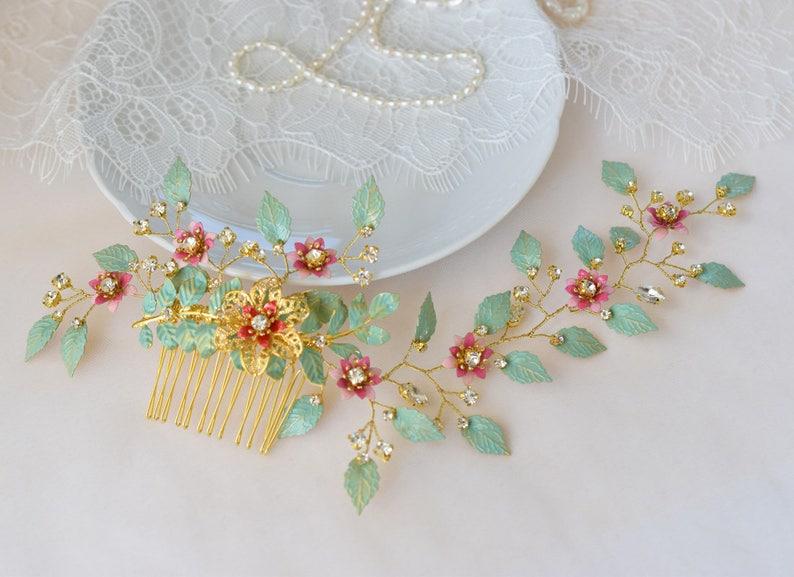 Bridal headpiece Bridal hair jewelry Wedding Flower hair vine Bridal flower hair vine Wedding leaf headpiece Boho hair vine