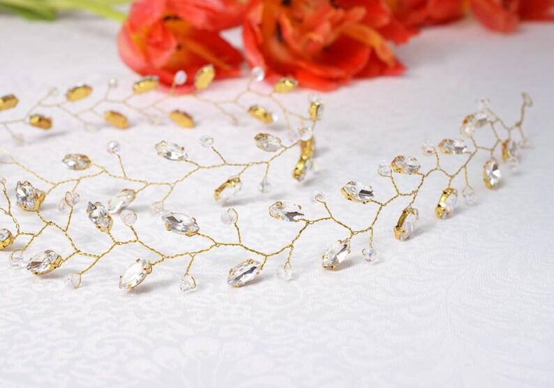 Boho hair jewelry Wedding Crystal Headpiece Crystal Bridal Wreath Rhinestone Hair piece Bridal Rhinestone Hair Vine Crystal hair vine