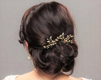 Bridal Hair Piece Wedding Headpiece Rhinestone Hair Pins Crystal Head Piece Silver Rose Gold Hair Pins Bridal Headpiece Rose Gold Hair Piece