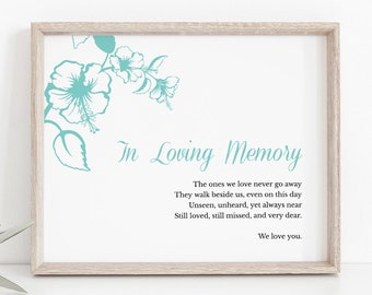 """Custom Wedding Sign Template """"Hawaii"""" with Hibiscus Flowers, Turquoise Blue Green. DIY Printable In Memory Sign. Templett, Instant Download."""
