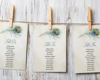 Bohemian Wedding Seating Chart Template Peacock Feather Instant Download. Hanging Cards Templett DIY Printable Boho Style Table Plan
