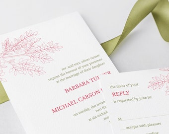 """Printable Wedding Invitation Set """"Leafy Branch"""", Hot Pink & Olive Green. DIY Templates: Invite, RSVP, Thank You. Instant Download, Templett."""