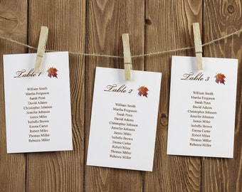 """Watercolor Wedding Seating Chart Template """"Fall in Love"""", Brown. Printable Maple Leaf Table Plan, Hanging Cards. Templett, Instant Download."""