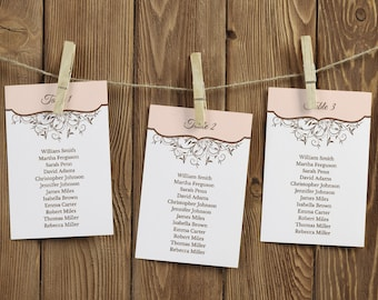 """Wedding Table Plan Template """"Spring Vines"""", Peach. DIY Printable Seating Chart, Hanging Cards Lists & Sign. Templett, Instant Download."""