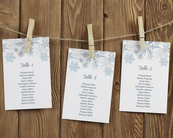 Winter Wedding Seating Chart Template Snowflakes, Silver & Blue. DIY Printable Christmas Party Table Plan. Templett, Instant Download.