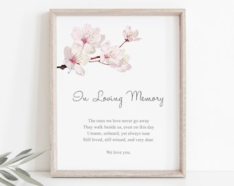 "Custom Sign Template ""Cherry Blossom"", Pink. DIY Printable Japanese Sakura Themed Wedding Sign. Editable Templett, Instant Download."